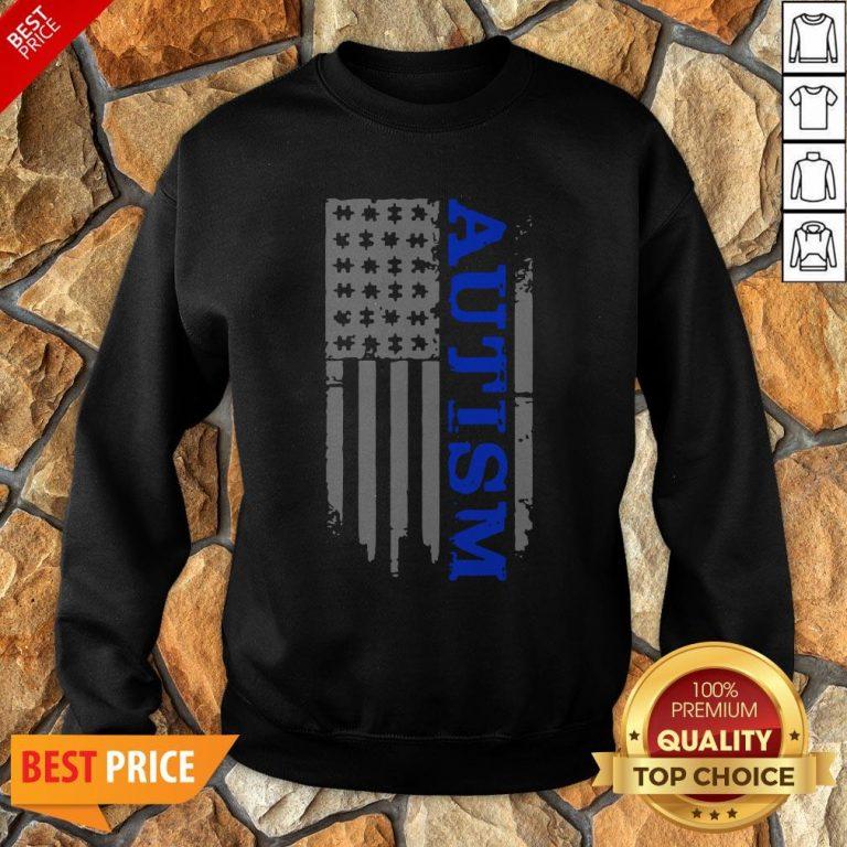 Nice Autism Awareness Blue Flag Sweatshirt
