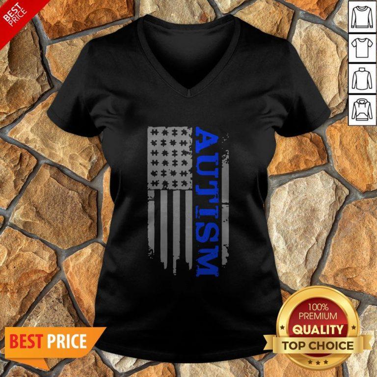 Nice Autism Awareness Blue Flag V-neck