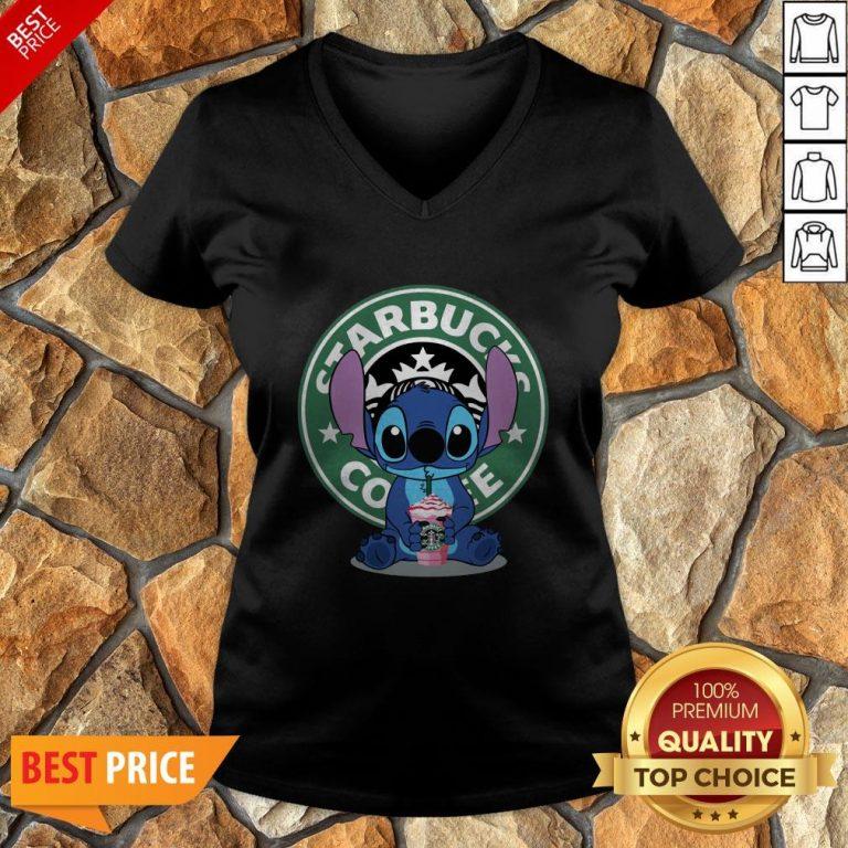 Nice Stitch Hug Starbucks Coffee V-neck