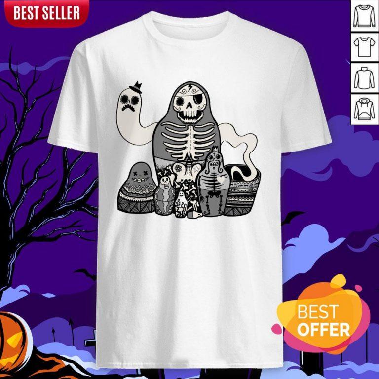 Russian Doll Family Skull Day Of Dead Muertos Shirt