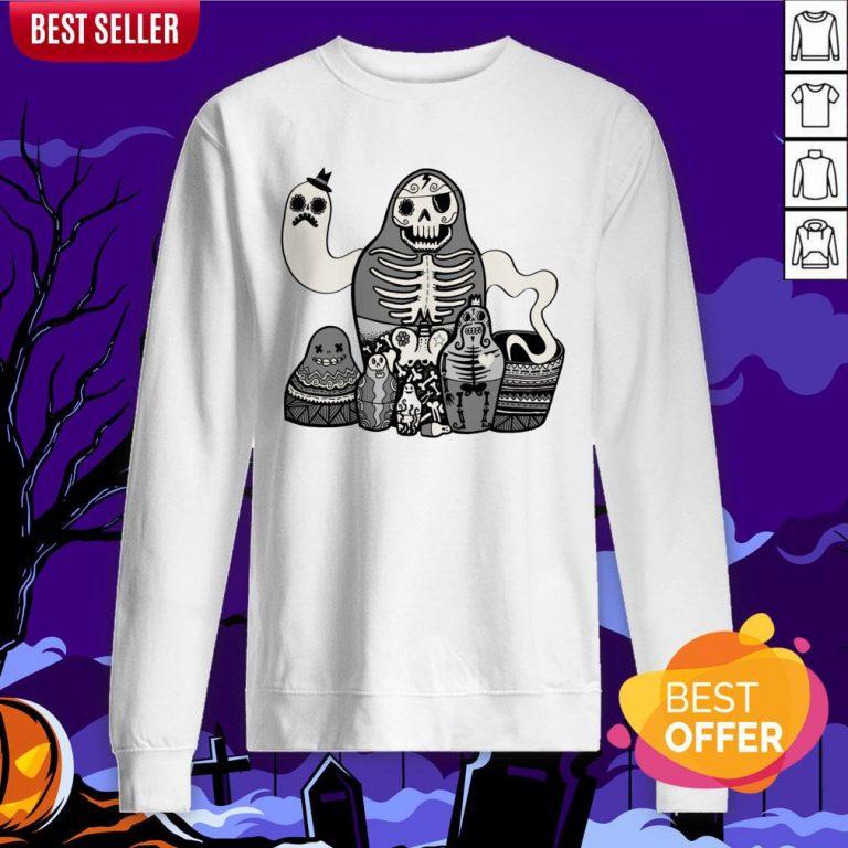 Russian Doll Family Skull Day Of Dead Muertos Sweatshirt