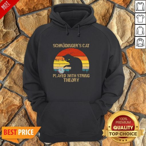 Schrodinger's Cat Played With String Theory Vintage Hoodie