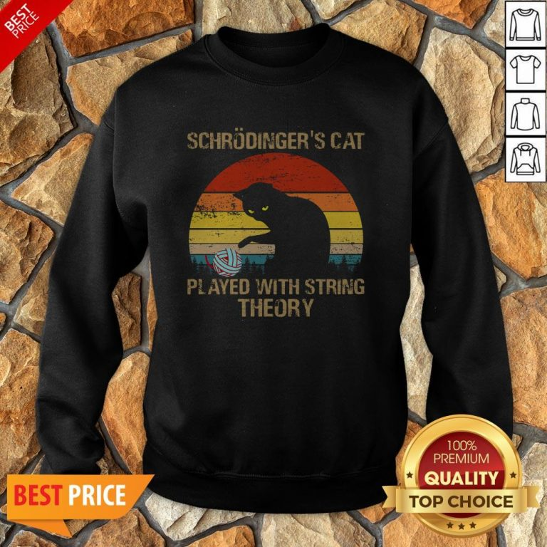 Schrodinger's Cat Played With String Theory Vintage Sweatshirt