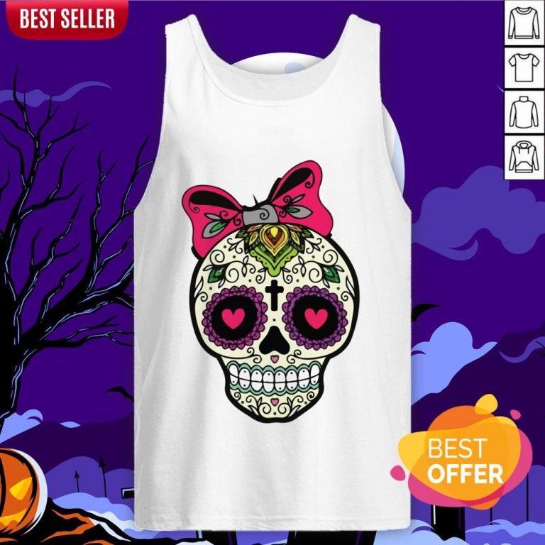 Sugar Skull Lady Dia De Muertos Day Of Dead In Mexican Holiday Tank Top