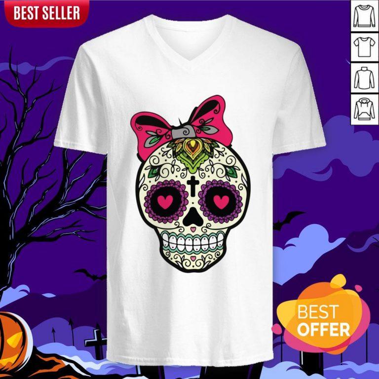 Sugar Skull Lady Dia De Muertos Day Of Dead In Mexican Holiday V-neck