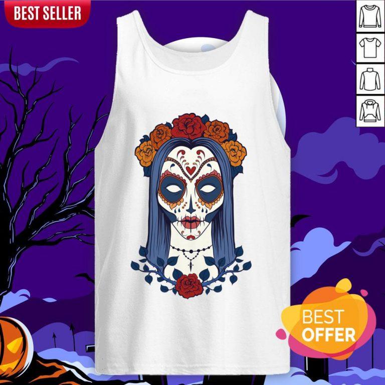 Sugar Skull Lady Dia De Muertos Day Of Dead Tank Top