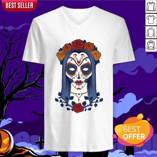 Sugar Skull Lady Dia De Muertos Day Of Dead V-neck