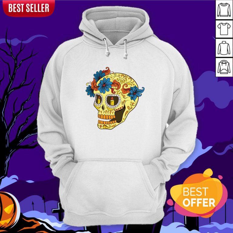 Sugar Skull Yellow Dia De Los Muertos Day Dead Hoodie