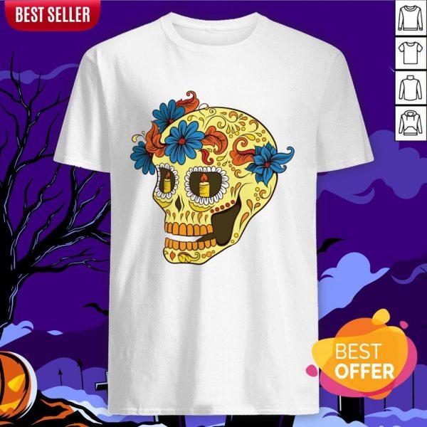 Sugar Skull Yellow Dia De Los Muertos Day Dead Shirt