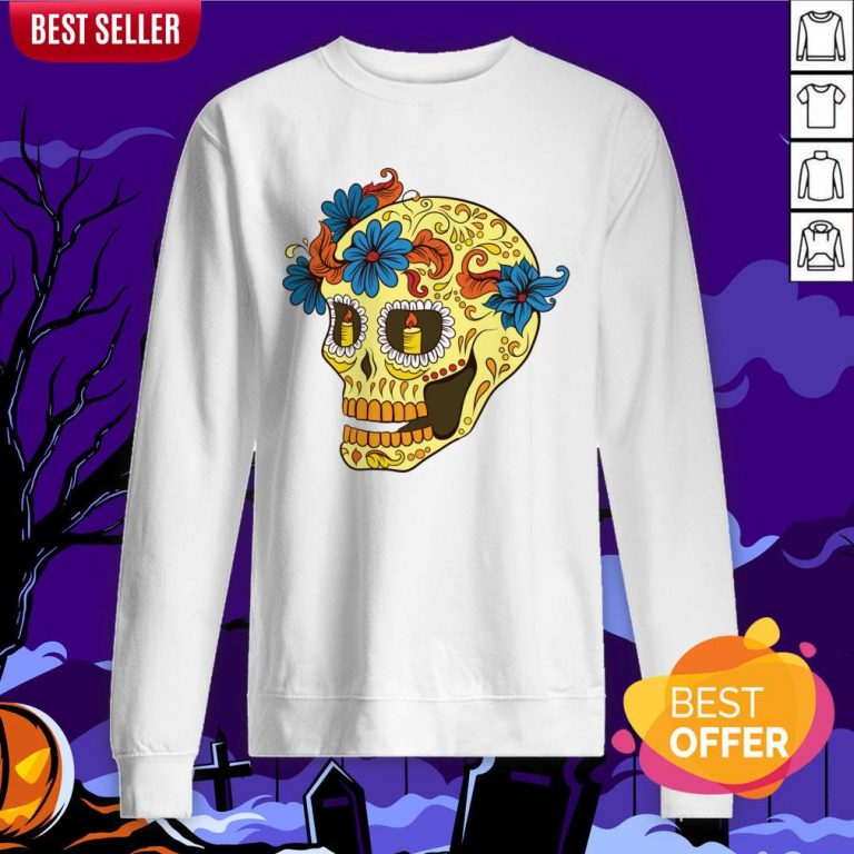 Sugar Skull Yellow Dia De Los Muertos Day Dead Sweatshirt