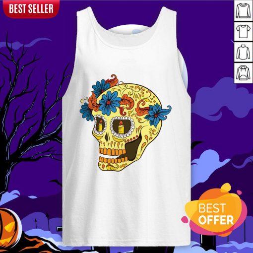 Sugar Skull Yellow Dia De Los Muertos Day Dead Tank Top