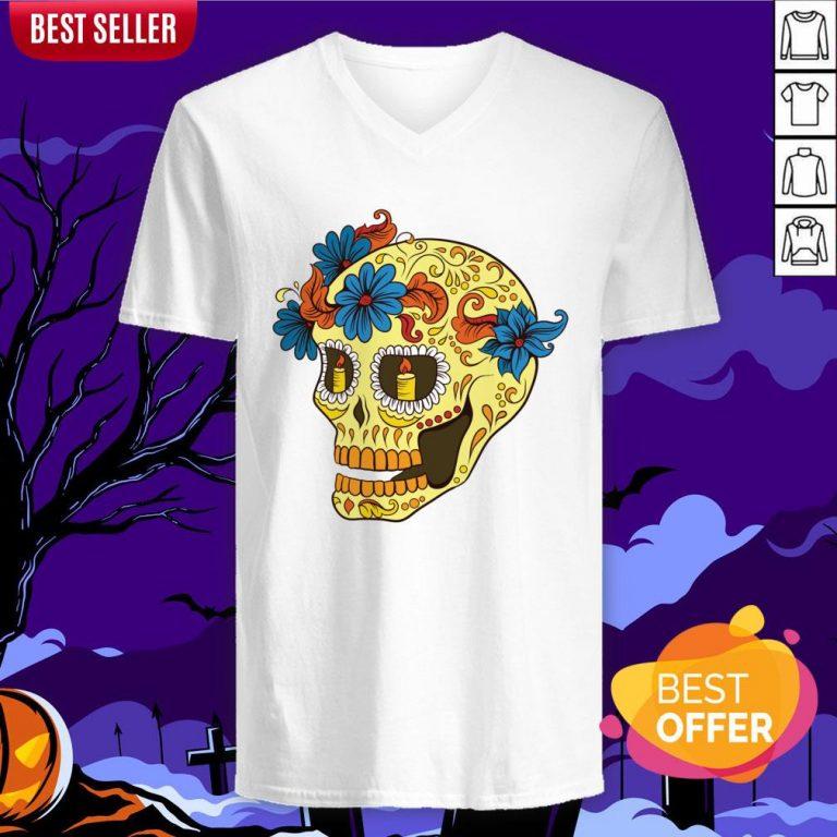 Sugar Skull Yellow Dia De Los Muertos Day Dead V-neck