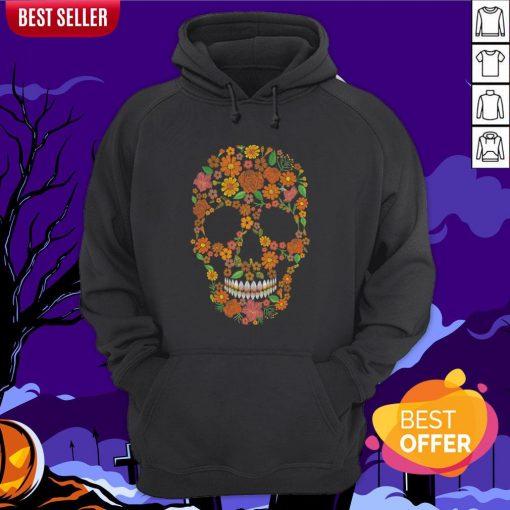 Sugar Skulls Monochrome Flower Dia De Muertos Day Of The Dead Hoodie