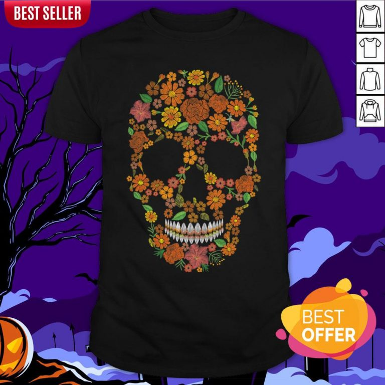 Sugar Skulls Monochrome Flower Dia De Muertos Day Of The Dead Shirt
