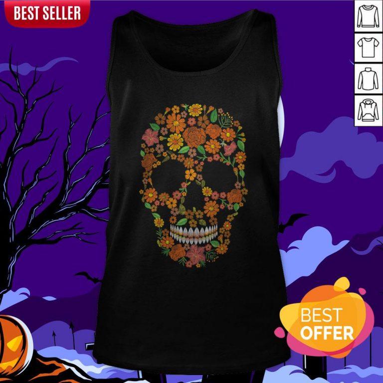 Sugar Skulls Monochrome Flower Dia De Muertos Day Of The Dead Tank Top