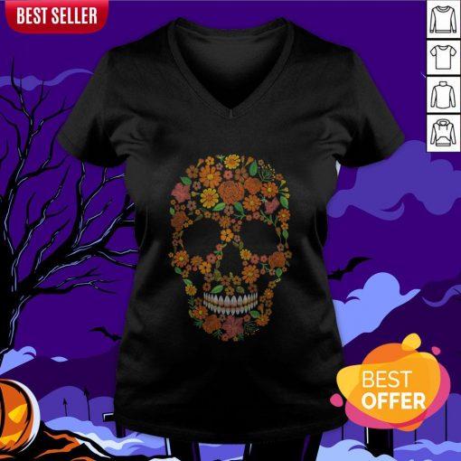 Sugar Skulls Monochrome Flower Dia De Muertos Day Of The Dead V-neck