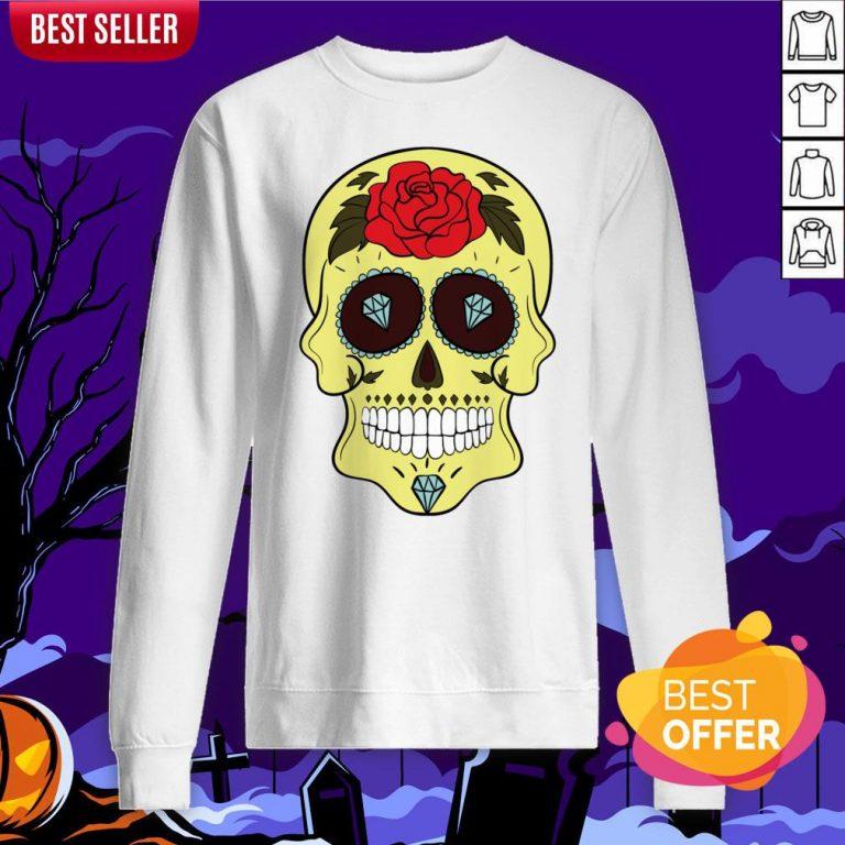 Tattoo Diamond Sugar Skulls Mardi Gras Dia De Muertos Sweatshirt