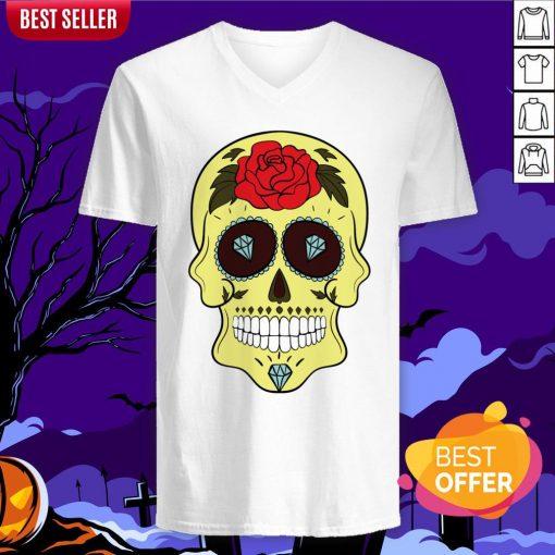 Tattoo Diamond Sugar Skulls Mardi Gras Dia De Muertos V-neck
