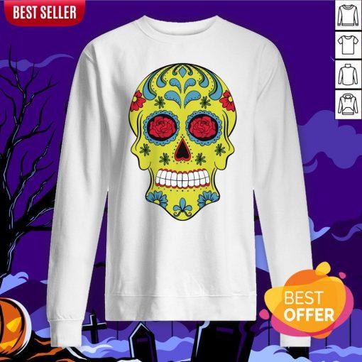 Tattoo Rose Sugar Skulls Mardi Gras Day Of The Dead Muertos Sweatshirt