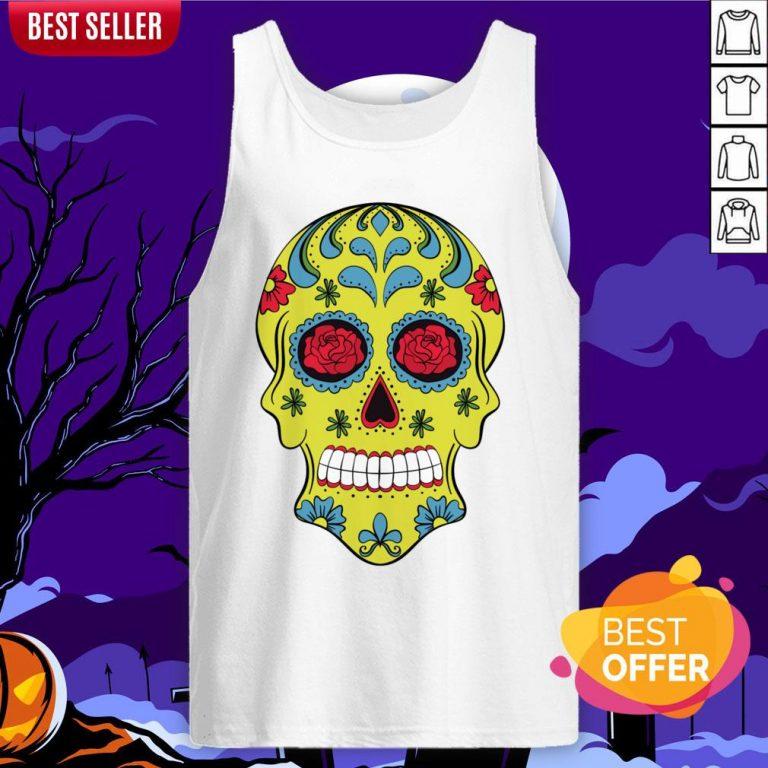 Tattoo Rose Sugar Skulls Mardi Gras Day Of The Dead Muertos Tank Top