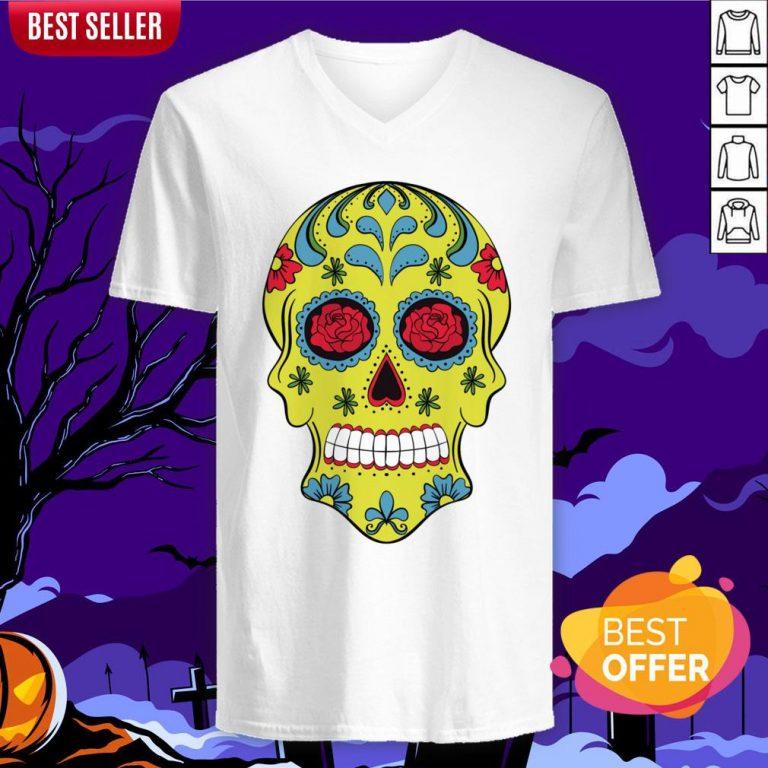 Tattoo Rose Sugar Skulls Mardi Gras Day Of The Dead Muertos V-neck