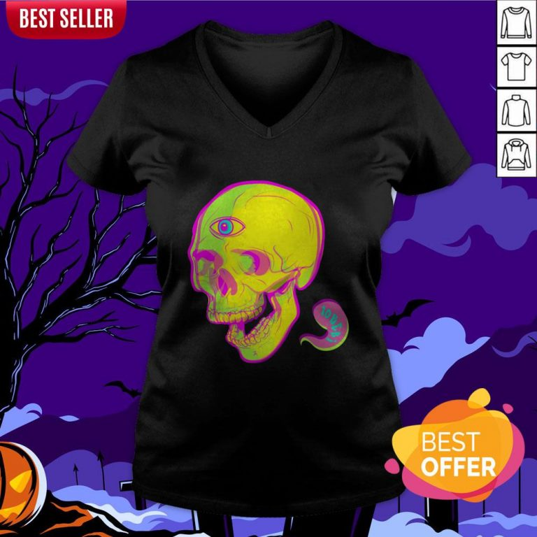 Trippy Sugar Skull Day Of The Dead V-neck