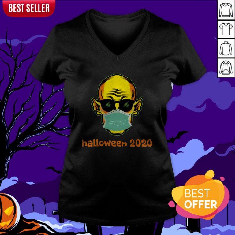 Vampire Face Mask Halloween 2020 Quarantined V-neck