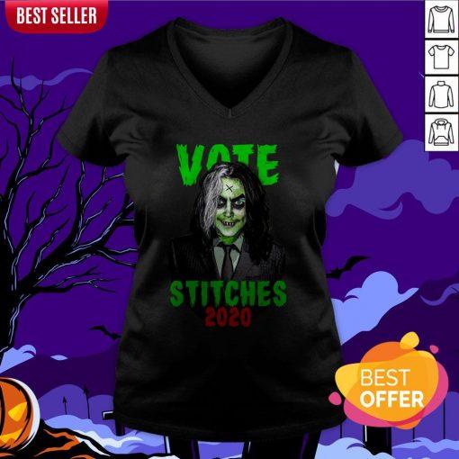 Vote Stitches 2020 Spooky Halloween Vintage V-neck