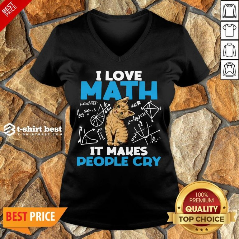 Cute Cat I Love Math It Makes People Cry V-neck- Design By T-shirtbest.com