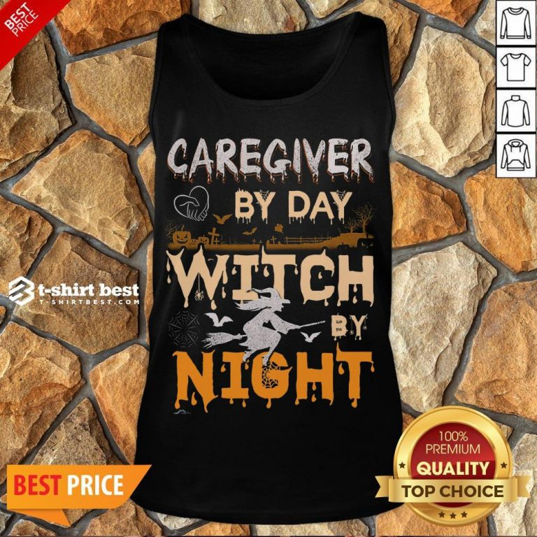 Funny Halloween Caregiver By Day Witch By Night Tank Top- Design By T-shirtbest.com
