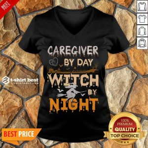 Funny Halloween Caregiver By Day Witch By Night V-neck- Design By T-shirtbest.com