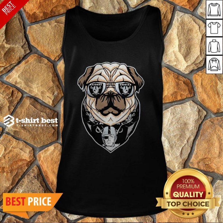 Funny Pug Dog Oklahoma Raiders Logo Tank Top