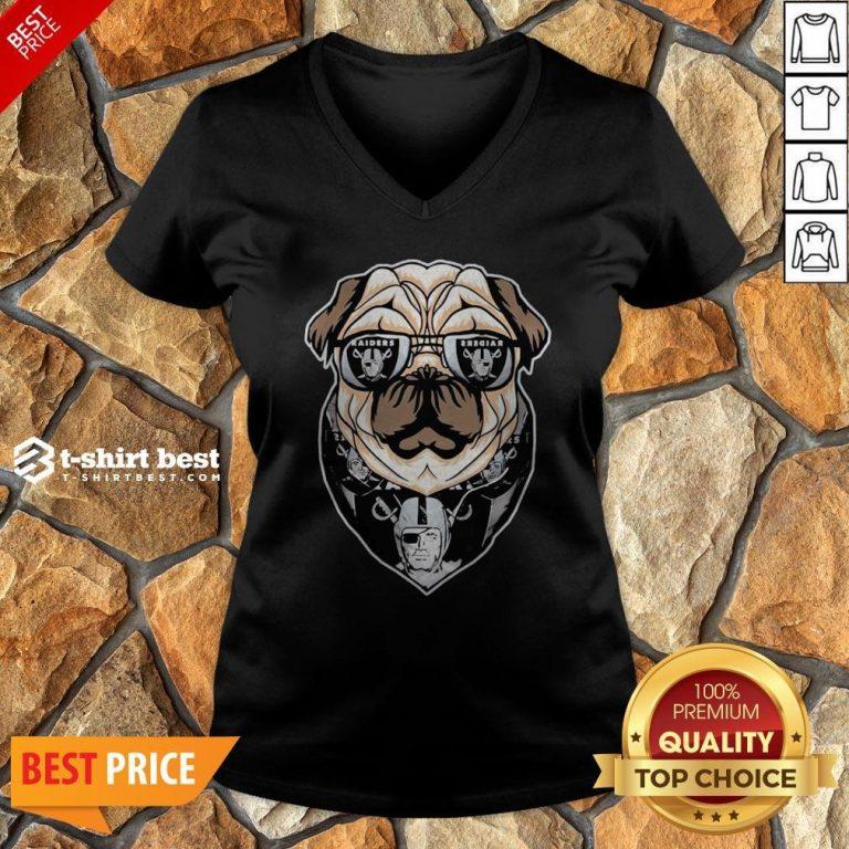 Funny Pug Dog Oklahoma Raiders Logo V-neck