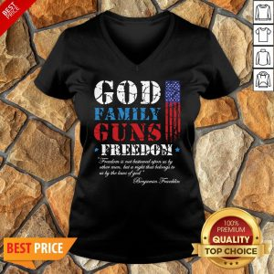 God Family Guns Freedom Christian Maga 2020 Trump V-neck
