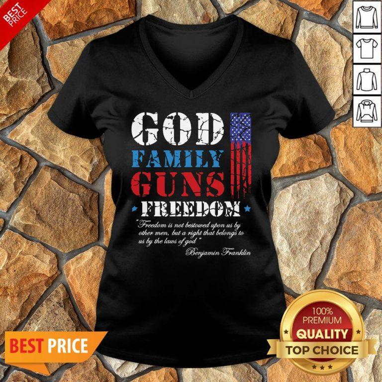 God Family Guns Freedom Christian Maga 2020 Trump V-neck