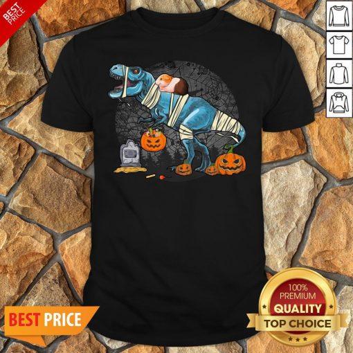 Guinea Pig Riding Mummy T Rex Dino Funny Halloween Costume Shirt