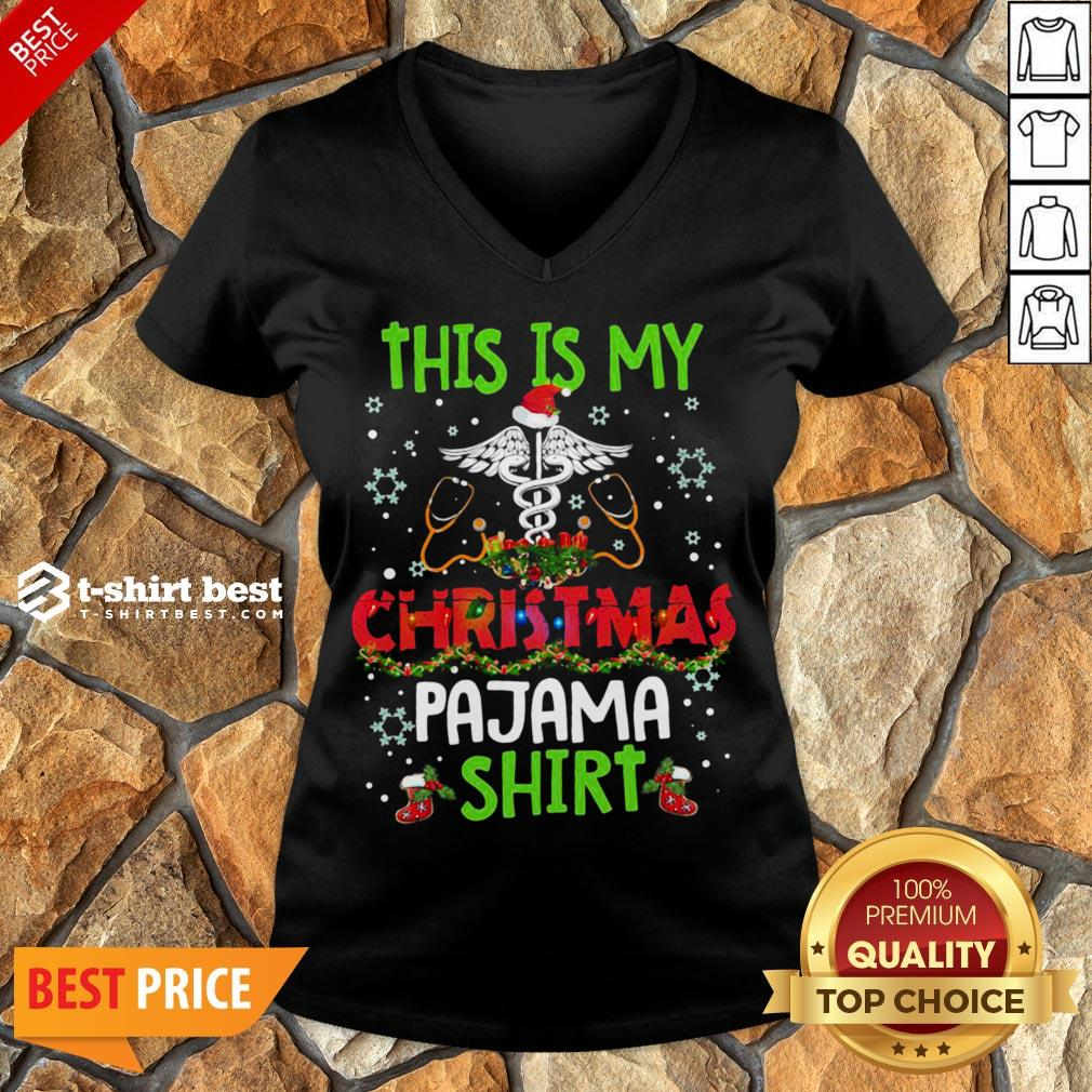 Happy This Is My Christmas Pajama V-neck- Design By T-shirtbest.com