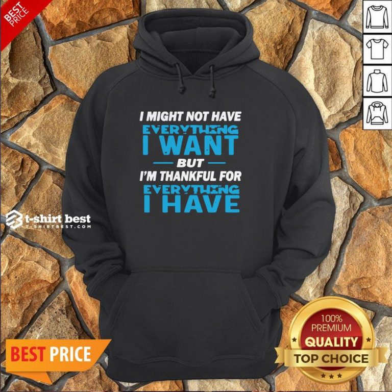 I Might Not Have Everything I Want But I'm Thankful For Everything I Have Hoodie