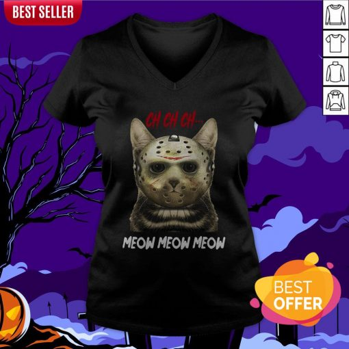 Jason Voorhees Ch Ch Ch Meow Meow Meows V-neck