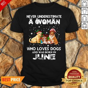 Never Underestimate A Woman Who Loves Dogs And Was Born In June Shirt