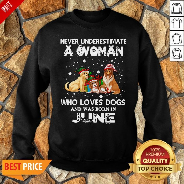 Never Underestimate A Woman Who Loves Dogs And Was Born In June Sweatshirt
