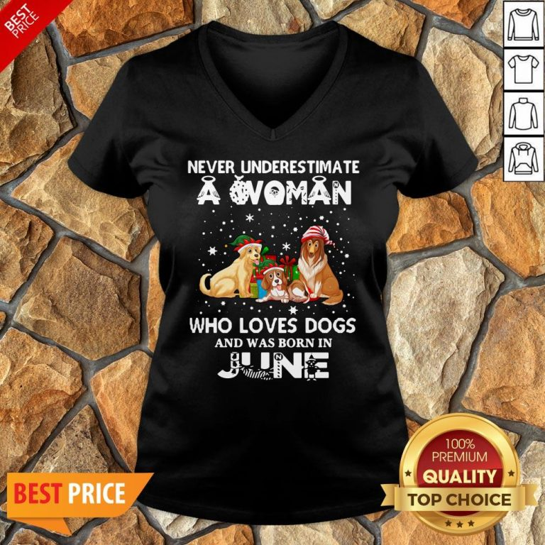 Never Underestimate A Woman Who Loves Dogs And Was Born In June V-neck