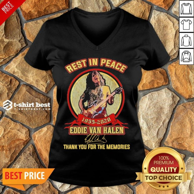Nice Rest In Peace 1955 2020 Eddie Van Halen Signature Thank You For The Memories V-neck- Design By T-shirtbest.com