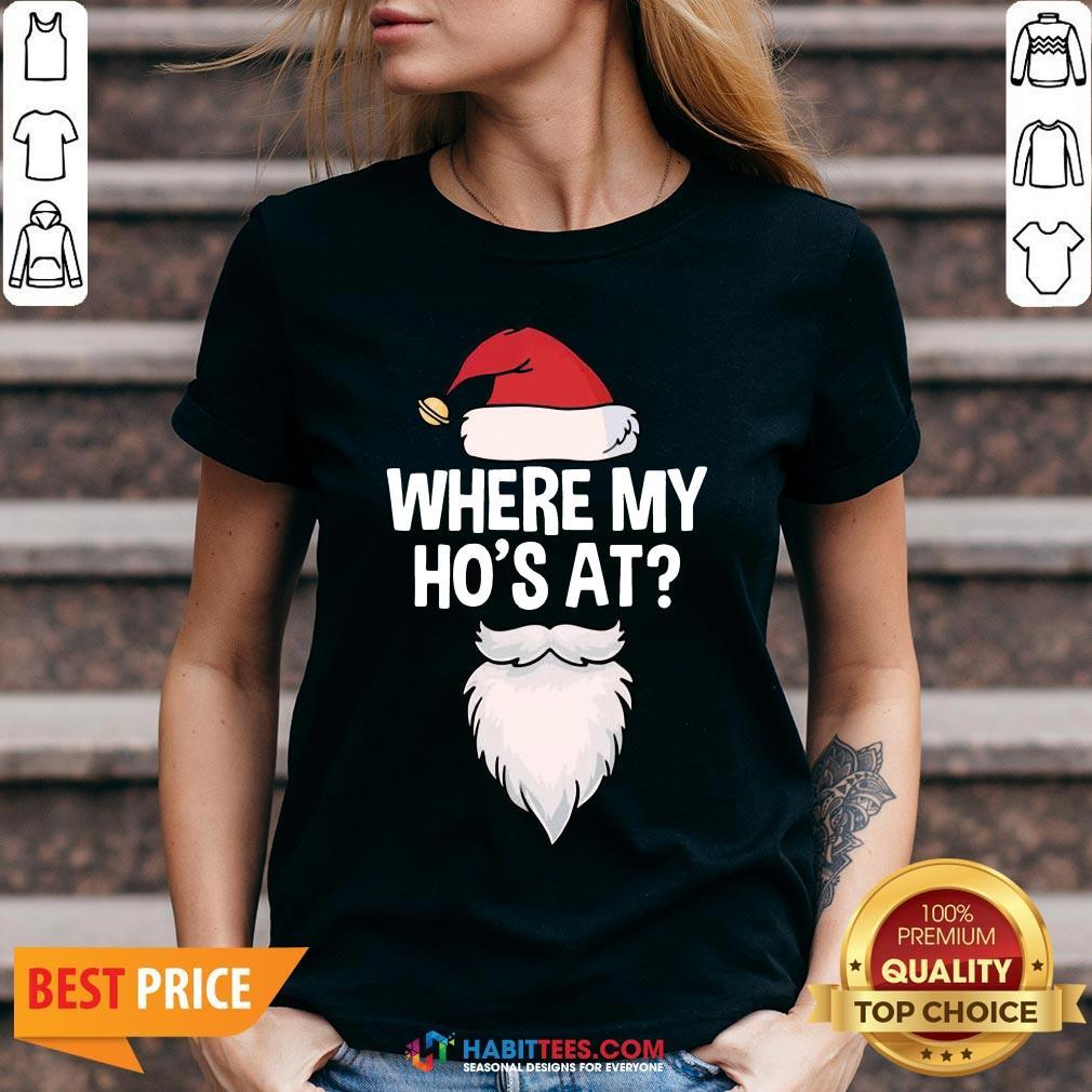 Nice Santa Where My Ho's At Christmas V-neck- Design By T-shirtbest.com