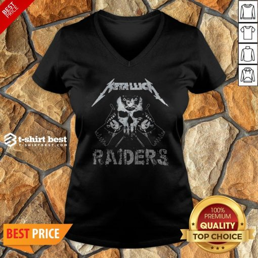 Nice Skull Metallica Oklahoma Raiders V-neck