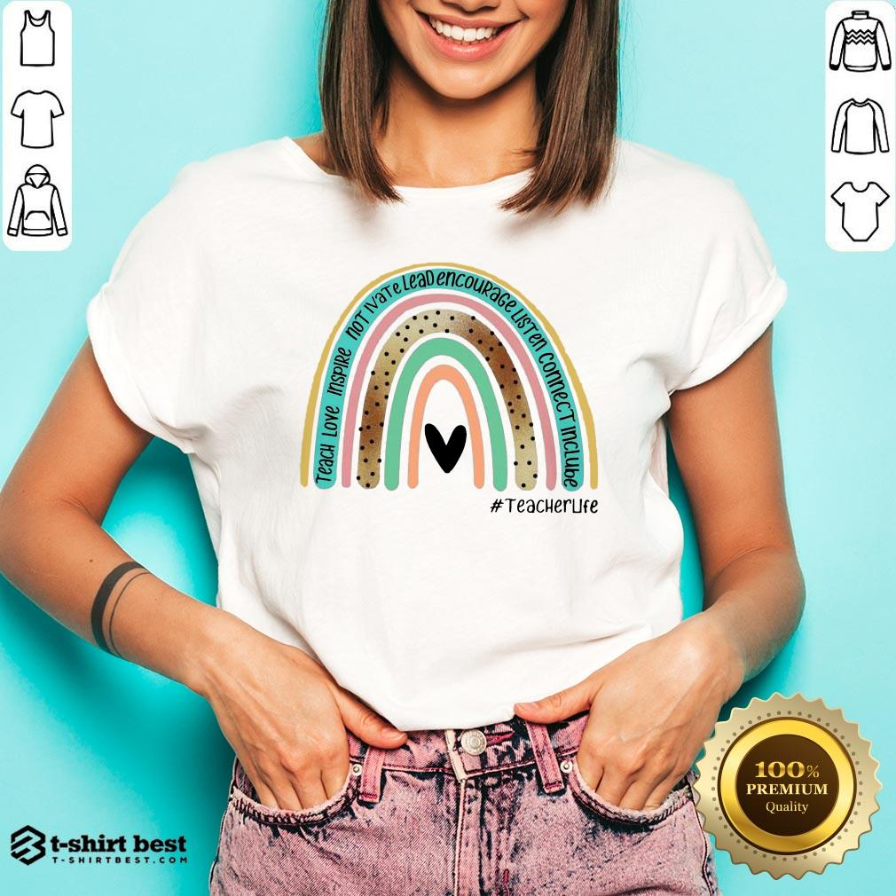 Nice Teacher Love Inspire Not Ivate Lead Encourage Teacher Life Classic V-neck- Design By T-shirtbest.com