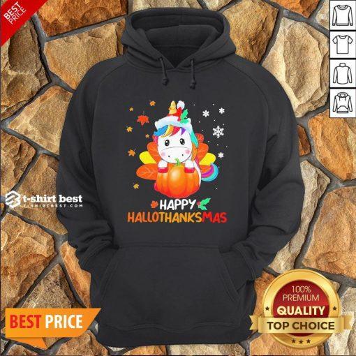Nice Unicorn Happy Hallothanksmas Hoodie- Design By T-shirtbest.com