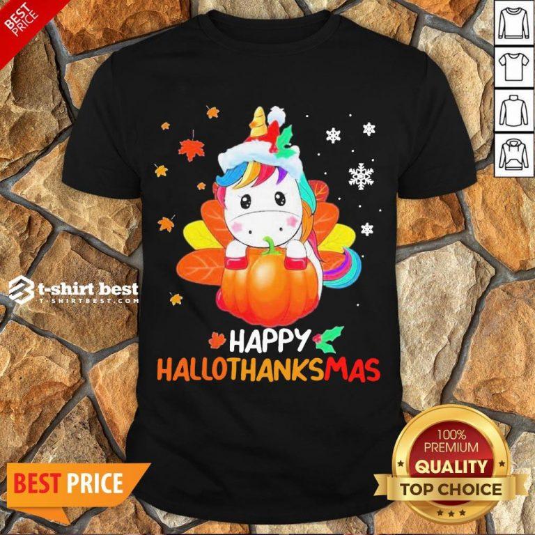 Nice Unicorn Happy Hallothanksmas Shirt- Design By T-shirtbest.com