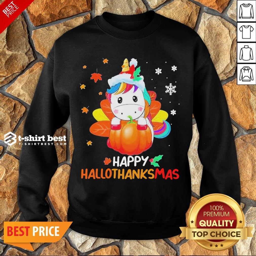 Nice Unicorn Happy Hallothanksmas Sweatshirt- Design By T-shirtbest.com