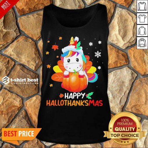 Nice Unicorn Happy Hallothanksmas Tank Top- Design By T-shirtbest.com